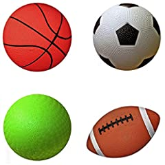 "Pack of 4 Sports Balls with 1 Pump: 1 each of 5"" Soccer Ball, 5"" Basketball, 5"" Playground Ball, and 6.5"" Football. Small size for small hands. Ball weight of each is 120 grams. Balls are soft to catch and easy to grip, perfect for age group of 3 to ..."