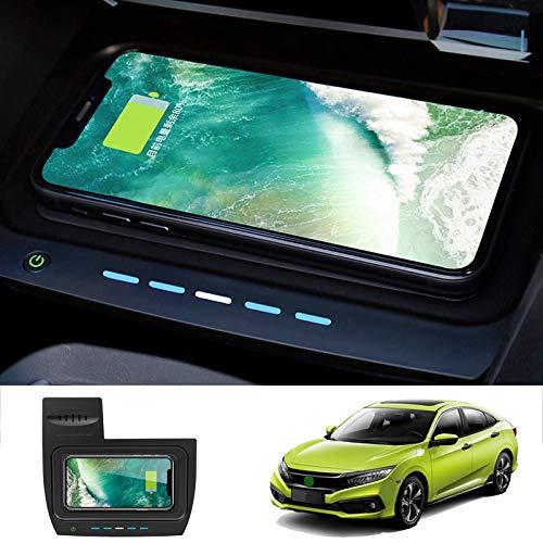 ZHANGYU Cargador de teléfono inalámbrico, para Honda Civic de 10a generación 2020 2019 2018 2017 2016 Pad de Carga rápida inalámbrica para automóvil, para teléfono 10W / 7.5W / 5W Pad de Carga rápida