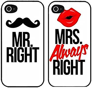 iPhone 5, Set of 2, BFF Best Friends Forever Lover Snap on Rubber Case Cover for Apple iPhone 5 5S (Mustache Mr and Lip Mrs Are Always Right)