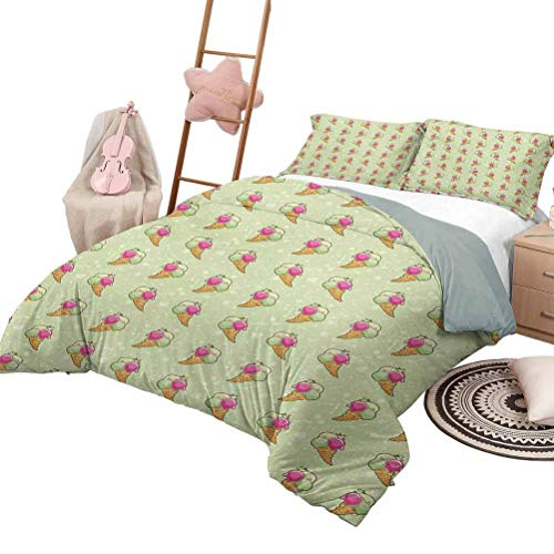 Daybed Quilt Set Ice Cream Custom Bedding Machine Washable Hand Drawn Style Dairy Treat Waffle Cones on Green Backdrop with Grungy Spots King Size Multicolor