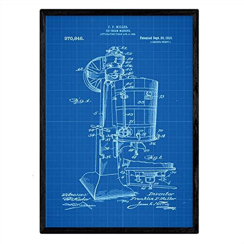 Nacnic Poster con Patente de Maquina de Helados. Lámina con