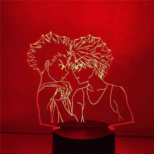 Lámpara de ilusión LED con luz Nocturna 3D de Personajes de Hunter para niños, Dormitorio, decoración de la cabecera, Control Remoto, 7 Colores