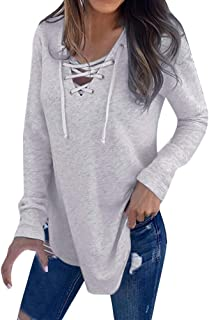 OrchidAmor Women V Neck Strap Long Sleeve T-Shirt Top Autumn Blouse