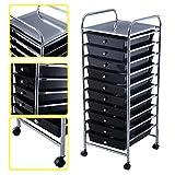 KAYSEV 10 Drawer Rolling Storage Organizer Cart, Multi-Purpose Scrapbook Paper Office School Utility Organizer Rainbow, Tray Drawer Black