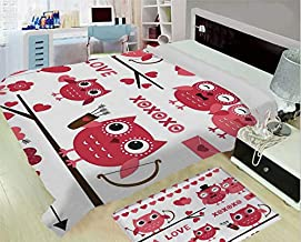 Super Light and Warm Flannel Household Printing Blanket,Animal Decor,Owls Illustration with Romantic Elements Arrow Eyesight Partners in Amour Artful Design,Red White,One Side Printing,Excess Value