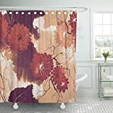 Setyserytu Cortinas de baño, Fabric Shower Curtain Curtains Floral Imprints Abstract Flowers and Dry Twigs Watercolour and Digital Fabrics Souvenirs Packaging and Bloom Waterproof Decorative Bathroom