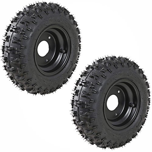 JCMOTO 2 Pack of 4.10-6 Go Kart ATV Tubeless Tire with Rim   Rear Tires Rims for Scooter Quad Bikes 4 Wheelers