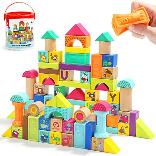 TOP BRIGHT Wooden Building Blocks Toddlers 1-3,Baby Blocks for 1 Year Olds,Toy for 1 2 3 Year Old 80 Piece Set