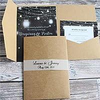 三つ折りのポケット招待状を作るレトロなクラフトの結婚式の招待状は、パーソナライズされた印刷を封じます50セット-customized_printing