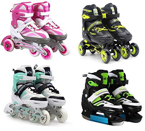 SportVida Inline Skates Kinder Erwachsene Inliner 4in1 | Verstellbare Schlittschuhe | Triskates Größenverstellbar ABEC7 Lager | Rollschuhe in Größen 31-42 | Pink Blau Grün Türkis (Pink, 31-34)
