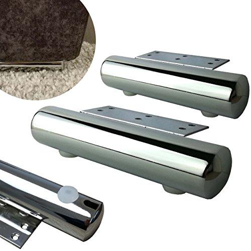 4x Möbelfüße aus Metall (Chrom) - vielseitig einsetzbare Füße für Möbel Sofa Schrank Tisch - verschiedene Größen (17,5cm)