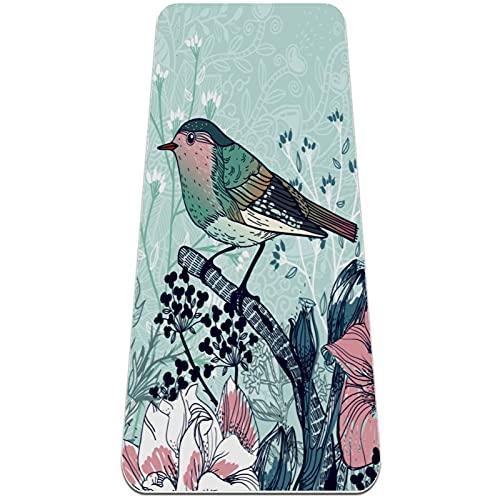 Esterilla de yoga antideslizante estilo chino con patrón de pájaros, ecológica, TPE gruesa, ideal para pilates, yoga y muchos otros entrenamientos en el hogar, 183 x 61 x 0,6 cm