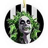 Bynight Tree Ornament Beetlejuices Green Blood Main Characters On Hair Ghost Clipart Comedy Christmas Ornaments for Home Decoration Kit Outdoor/Indoor Plastic Round 1pc/Pack