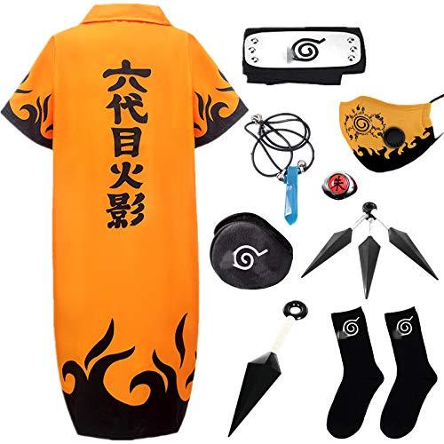 STRDK Naruto Akatsuki Uzumaki Namikaze Minato Kakasi Cosplay Costume Vspera de Todos los Santos Navidad Partido Disfraz Capa Headband Anillo Mscara Calcetn Shuriken Masculino Hembra Nio Armas Set