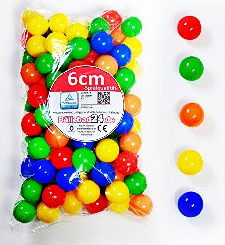 300 Stück 6cm Bälle für Kinder Bällebad Babybälle Plastikbälle ohne gefähliche Weichmacher (TÜV Test Report vom November / 2012)