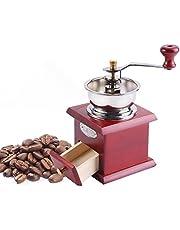 Yosoo Premium manuell kaffekvarn retro design kaffe handkvarn hem kök kontor slipverktyg bryggning väsentligheter (färg: rött trä)