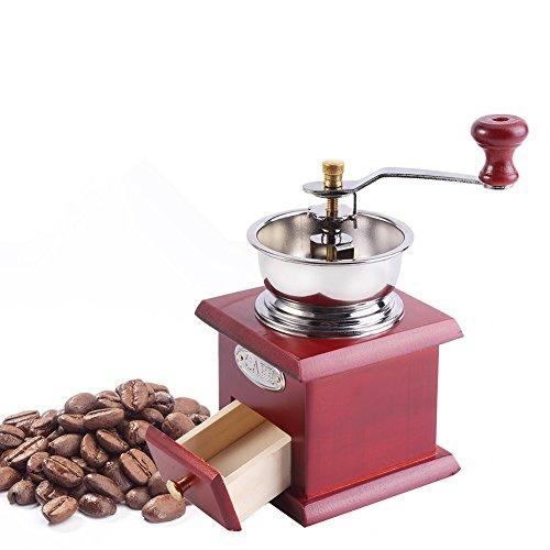 Yosoo Premium Manuelle Kaffeemühle Retro Design Kaffee Hand Mühle Haus Küche Büro Schleifen Werkzeug Brauen Essentials (Farbe : Red Wooden)