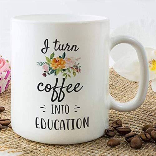 N\A Taza de café para Maestros, Taza para Maestros, Agradecimiento al Maestro, Regalo para Maestros, Idea de Regalo para Maestros, convierto el café en educación