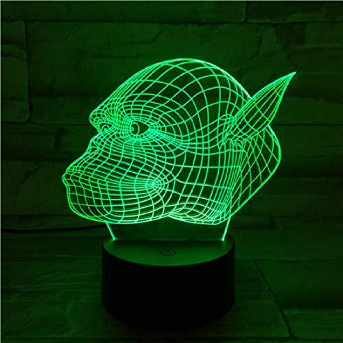 Luz de noche de 3D para niños de luz nocturna lámpara para sala de estar Chaflán de resorte decoración de dormitorio regalo lámpara de noche creativa regalo Con interfaz USB, cambio de color colorido