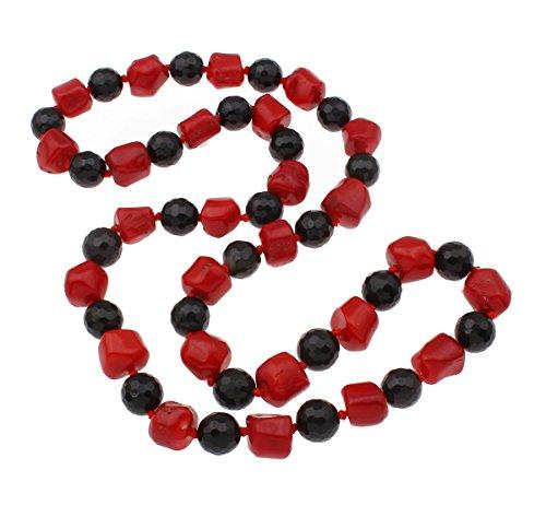 TreasureBay Hermoso collar de ágata negra gruesa y coral rojo 69 cm