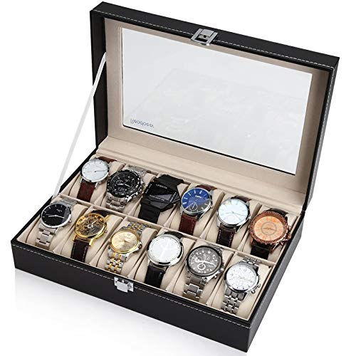 Readaeer 6/10/12 Slot PU Leather Watch Box Display Case Jewelry Organizer with Glass Top (Black, 12 Slot)
