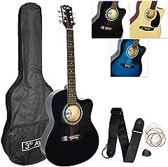 3rd Avenue STX10CABKPK Paquete de Guitarra Acústica Cutaway, Negro, Corte Acústico, Paquete estándar