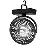 10000mAh Battery Operated Camping Fan with LED Light-7 inch USB Fan with Hanging Hook for Tent Car RV Hurricane Emergency Outage