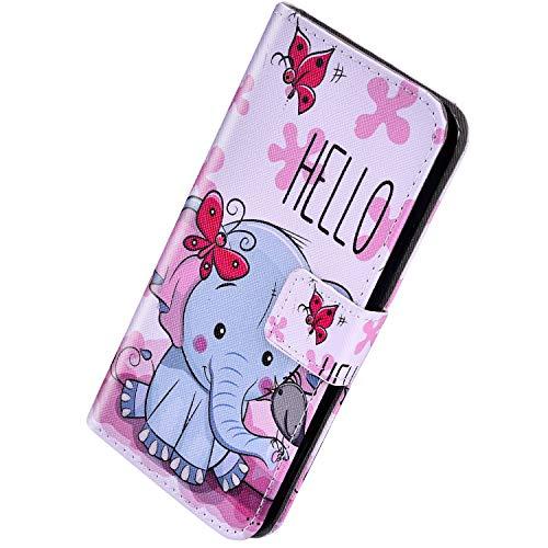 Herbests Kompatibel mit Huawei Mate 20 Lite Handyhülle Handytasche Leder Hülle Retro Bunt Muster Schutzhülle Flip Case Leder Tasche Wallet Hülle Kartenfächer Magnet,Schmetterling Elefant