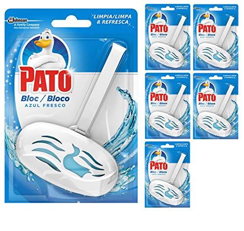 Pato - Bloc Azul Fresco limpiador y ambientador para inodoro, aplicador + recambio (Pack de 6)