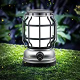 Solar Lantern Outdoor Waterproof, Camping Lantern Rechargeable Lantern with 2000mAH Emergency Power Bank for Outside Camping Flickering Flame Hanging LED Lights,Compatible with USB,Two Modes