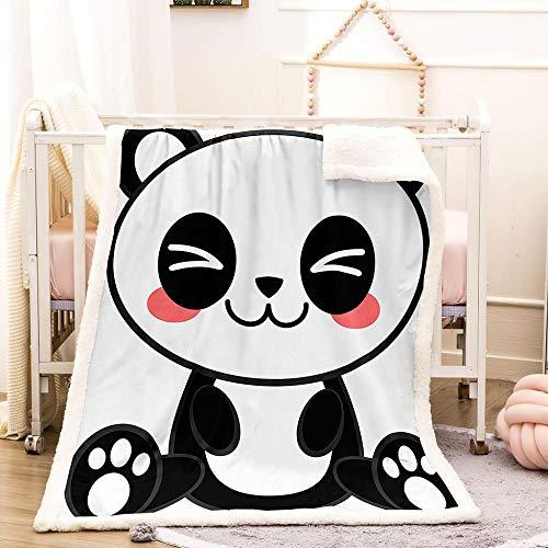BEDSERG Tirar Las Mantas Gruesas para Adultos niños Panda Animal Blanco y Negro Manta Polar Super Suave Colcha Sherpa Manta para la Cama y sofá 150x200cm