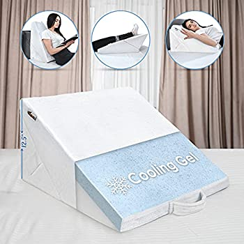 Bed Wedge Pillow – Multipurpose Adjustable Leg Support Pillow – Cooling Gel Memory Foam Top - Helps for Acid Reflux Heartburn Allergies Snoring - Machine Washable Soft Plush Cover with Handle White