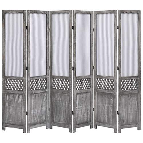 Tidyard Biombo Divisor de 6 Paneles Plegables de Tela Gris 210x165 cm