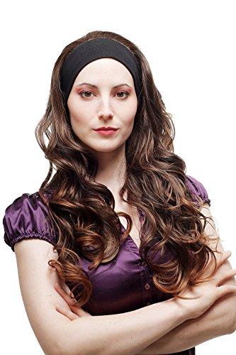 WIG ME UP - H9308-2T30 Haarteil Halbperücke Perücke fest an elastischem Stirnband lang gelockt Braun Mix 65 cm