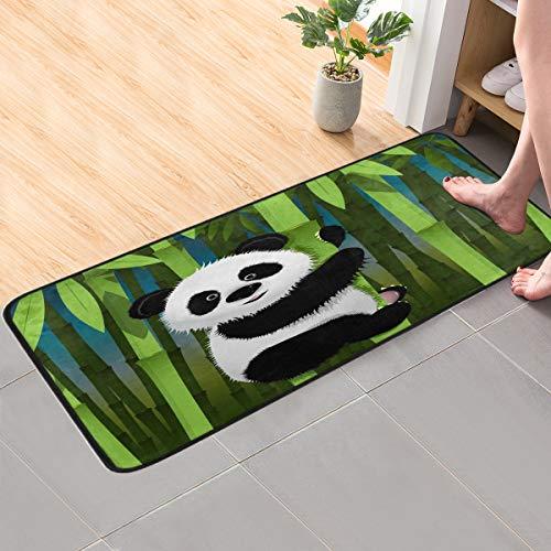 CaTaKu Tier Panda Bambus Teppich 99 x 51 cm Polyester Teppich rutschfest Boden Teppich Läufer waschbar Teppich Matte für Küche Esszimmer Zuhause dekorativ