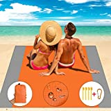 Aollop Beach Blanket, Sand Free Beach Blanket- Large 82.7' x 78.7' Waterproof Portable Outdoor Lightweight Beach Mat for 4-8 Adults- Quick Drying Picnic Mat for Travel, Camping, Hiking