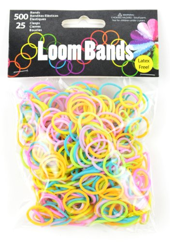 Touch of Nature 500 Value Pack Loom Bands, Assorties, Comprend 25 Plastique fermoirs, Pastel Vert/Orange/Rose/Violet/Jaune/Turquoise