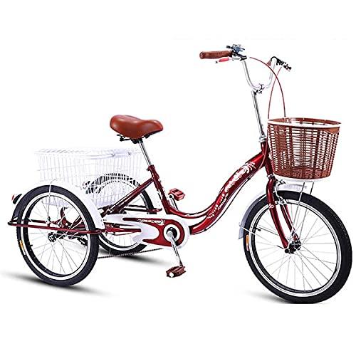 Triciclo per Adulti 20in Tricycle Adulto Elevato Telaio in Acciaio al Carbonio Bicicletta per Adulti con Cestino della Spesa Bicicletta da Crociera A Tre Ruote per Anziani, Donne, Uomini(Color:Rosso)