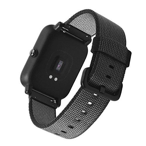 Pulseira de relógio de nylon de 20 mm SIKAI de liberação rápida universal de nylon trançado para Samsung Gear Sport/Ticwatch E/Amazfit Bip/Garmin Vivomove pulseira de nylon (preto)