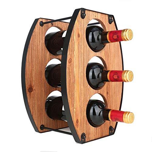 Z&HAO Estante para Vino De Pie, Estante para Vino De Metal, Estante para Vino De 3 Botellas, Almacenamiento De Vino, Soporte para Botellas De Vino De Estilo Industrial para Cocina, Bodega, Encimera