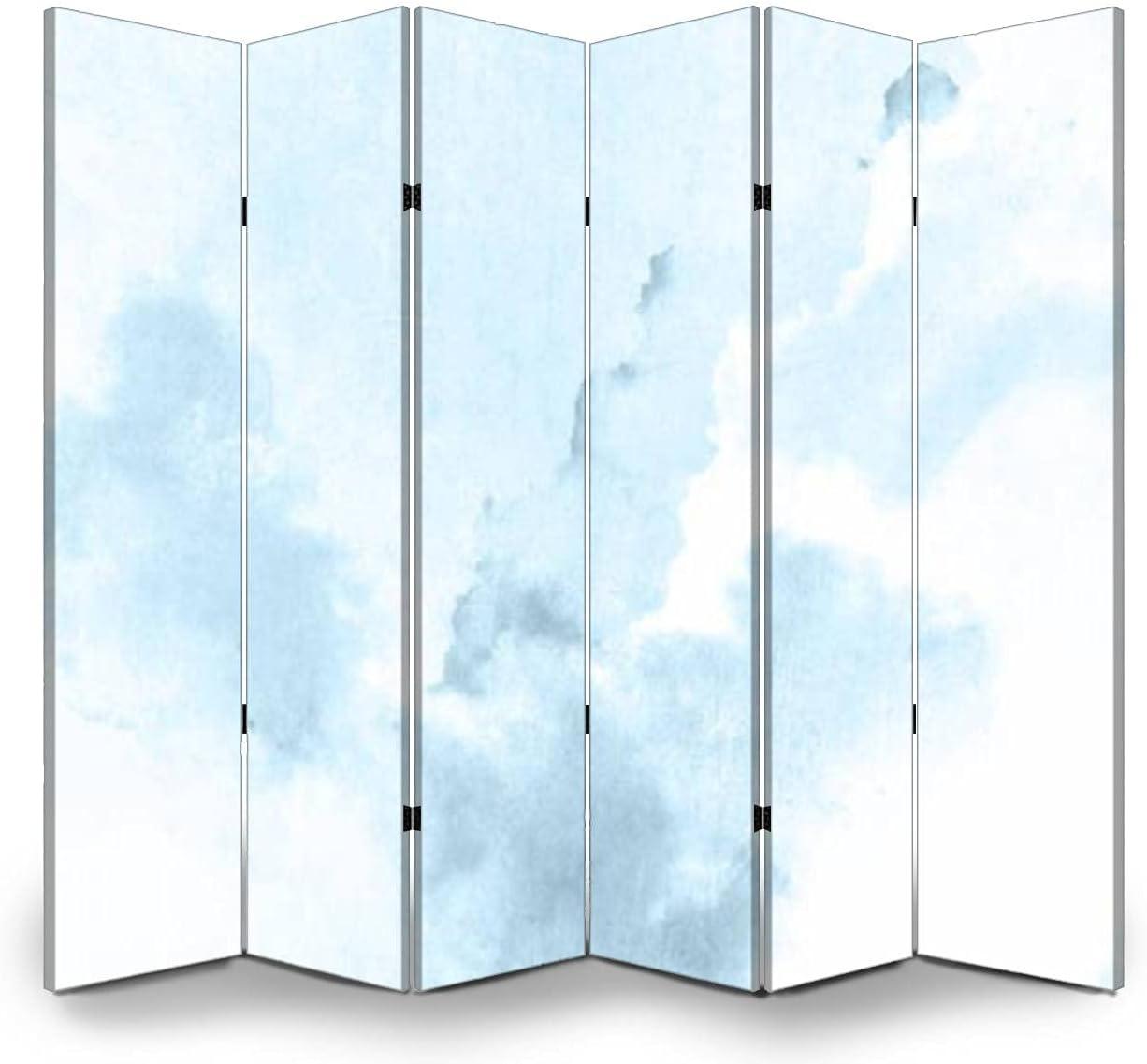 Cheap sale 6 Panels Room Divider Screen Backgroun Partition Blue Under blast sales Watercolor