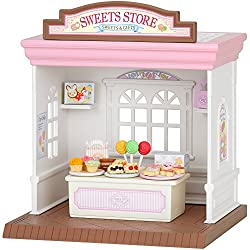 The shop selling lovely sweets for Sylvanian Included are over 25 pieces Grey cat mother is owner of this shop (sold separately) The sweets store can also connect to the toy shop and supermarket (sold separately) Suitable for ages 3 years to 10 years