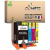 COMETE 4 cartuchos de tinta compatibles con HP 912XL 912 XL para HP OfficeJet 8012 8014 8015 8017 HP OfficeJet Pro 8022 8023 8024 8025 AIO - 1 negro, 1 cian, 1 magenta y 1 amarillo