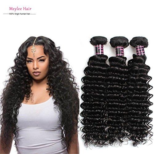 MSKAY-EXTENSION Extensions de Cheveux 7A brésilienne Curly Virgin Hair 3 3pcs Bundles Profonde Curly Virgin Hair Weave/lot Cheveux Totally 300g Natural Couleur 1B, 8 10 12