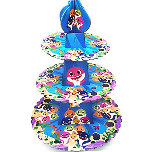 3 Tier Baby Cute Shark Cardboard Cupcake Stand Dessert Cupcake Holder for Kids Birthday Party, Baby Shower, Gender Reveal Party, Baby Shark Themed Party