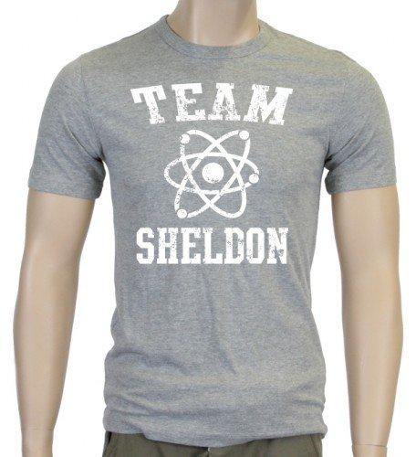 TEAM SHELDON - big bang theory ! T-Shirt Vintage Grau_Weiss_SLIM Gr.XXL