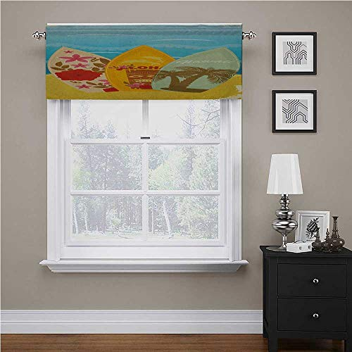 Youdeem-tablecloth Tiki Bar Curtain Valance Hawaiian Beach Surfboards on The Sand Exotic Summer Vacation Sport Vintage Style for Kitchen Window Casual Cafe Multicolor 60' x 18', Rod Pocket 1 Valance