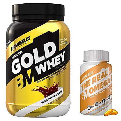 Bigmuscles Premium Gold Whey 1Kg Belgian Chocolate & Bigmuscles Omega-3 Fish Oil Triple Strength   30 Softgels