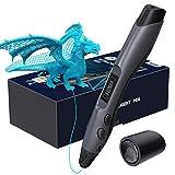 Aerb Stylo 3D, Stylo d'Impression 3D avec Écran LCD, Compatible avec Filaments PLA ABS de 1,75 mm, 8 Vitesses Réglables, Stylo 3D pour Enfant et Adulte Noir