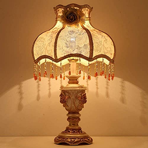 Palm kloset Lámpara de Mesa Lámpara de Mesa de Estilo Palacio clásico Europeo lámpara de Noche para Dormitorio Sala de Estar Aprendizaje Interruptor de botón cálido